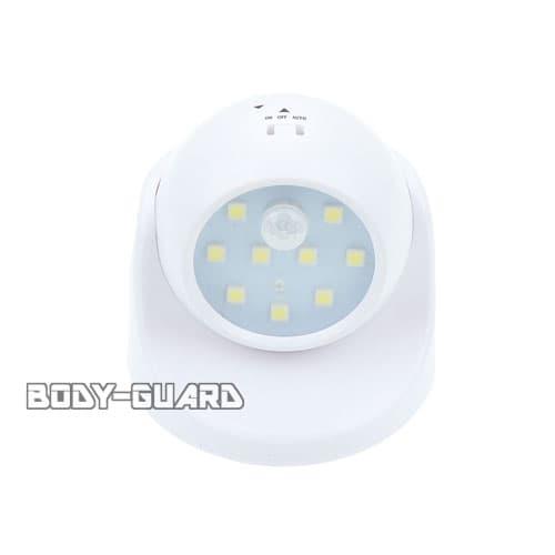 人感センサー 誘導灯 ホワイト 360度回転式