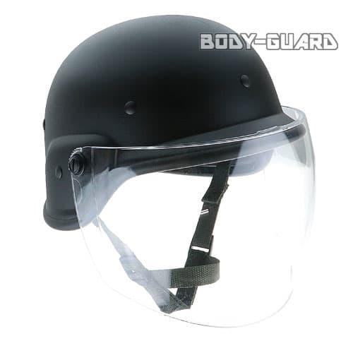 シールド付き ミリタリーヘルメット ブラック