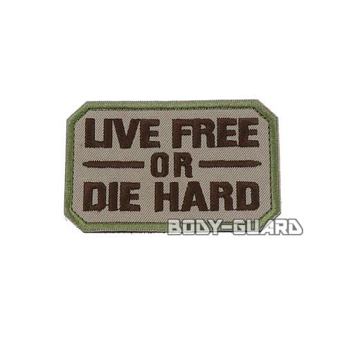 LIVE FREE OR DIE HARD ワッペン ベージュ